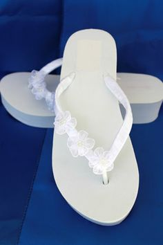 5069a48db4431f SALE - Ivory Flip Flops - White Wedge Flip Flops Sandals with Organza  Flowers