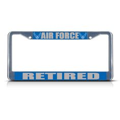 License Plate Frame Mall - AIR FORCE RETIRED MILITARY Chrome Metal Heavy License Plate Frame Tag Border New, $17.99 (http://licenseplateframemall.com/air-force-retired-military-chrome-metal-heavy-license-plate-frame-tag-border-new/)