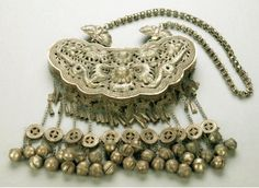 China   Large Miao nickel silver necklace. Qianlong group, Guangxi province.   Repousse with two confronting dragons facing the pearl of wisdom   200$ ~ Sold (May '07)
