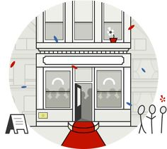 Log In page illustration - Yelp. Really cool one!