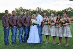 love the jeans and the not traditional bridesmaid dresses