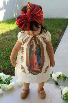 This is an infant wearing traditional attire to a baptism. Outfits as such are mostly seen in the Mexican culture. Her dress displays a picture of the Our Lady of Guadalupe. Up Girl, My Baby Girl, Baby Love, Baptism Baby Girl Dress, Mexican Outfit, Mexican Dresses, Mexican Baby Dress, Mexican Party, Cute Kids