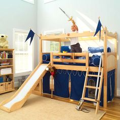 suspended bed over a curtained play