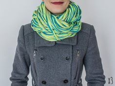 SCARF // Infinity Eternity Scarf Noodle Scarves Cotton Fashion Circle Necklace Chunky Cowl Turquoise Green Yellow on Etsy, $14.00