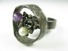 Perli Designer Ring 800 Silber Perle Amethyst Modernist 70er Boho -89 N4   eBay