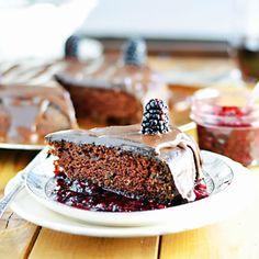 Vegan Red Wine Chocolate Cake with Blackberry-Red Wine Sauce and Dark Chocolate Ganache