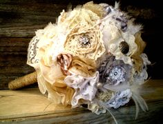 Vintage Fabric Bouquet - nothing against Etsy sellers (I am one!) but this would be SUCH a cool DIY project for a winter night. Flowers are so...dead.