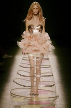 This is an image that represents a modern interpretation of womenswear in the Crinoline Period.