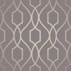 Apex Geometric Trellis Wallpaper Charcoal Grey and Copper Fine Decor FD41998 - World of Wallpaper