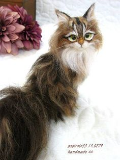 Needle felted long hair cat