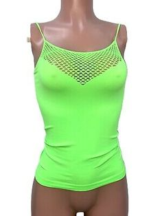 Stretchy Lime Neon Green Seamless Fitted Yoga Cleavage Net Top O/S New Rave Neon Green, New Dress, Tankini, Rave, Women's Clothing, Fashion Accessories, Yoga, Crop Tops, Clothes For Women