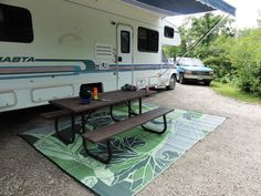 Our best selling design, the oversized leaf motif in hues of green and olive stand out against a neutral ground. Soft on your feet, this mat can be placed under the awning of your RV. It is a stylish Rv Homes, Tiny Homes, Inflatable Kayak, Selling Design, Camping Organization, Rv Campers, Happy Campers, Rv Life, Camper Life