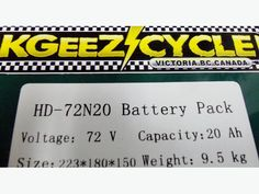 72 VOLT/20AH ELECTRIC SCOOTER LITHIUM BATTERY KITS WITH CHARGER