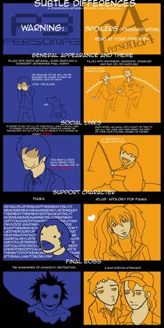 Comparisions Between Persona 3 And 4 by zaiyda - A Member of the Internet's Largest Humor Community Persona Crossover, Shin Megami Tensei, Social Link, Persona 4, Betrayal, Geek Stuff, Nerd, Reading, Books