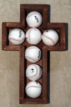 Wooden Cross Shadow Box Baseballs Wood Baseball by MadeByBueller