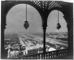 Paris Exposition; view of Paris from arched balcony of Eiffel Tower, Paris Exposition, 1889