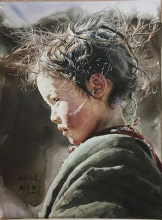 Painting of young girl with wild hair.  International Watercolor Society IWS Contest 2012-2013