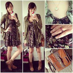vestido + parka + botinha