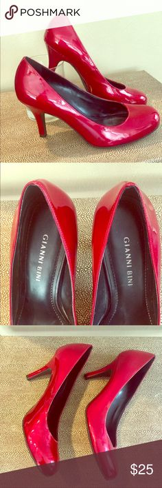 Gianni Bini Red Patent Leather Heels Gianni Bini Red Patent Leather Heels -- Size 7.5 with a 3.5 inch heel. Very good condition -- only worn a couple times. Love a pop of color with these great stylish heels!!   👠 Gianni Bini Shoes Heels