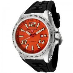 Reloj Swiss Legend Sprint Racer SL-80040A-06-W automático con esfera de acero inoxidable pulido y pulsera de caucho color negro. #relojes #watches