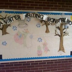 A winter themed bulletin board. The kids made all the designs of the characters by writing a concrete poem. The shape of the snowman looks like lines, but it is actually words making the shape that describe what a snowman is. There is a poem below the tree, the snow hills in the background are made of words, the birds have their poem inside the picture of the birds, etc. great way to show off their writing and it is very easy!