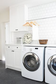 Modern Laundry Room with White Subway Tiles