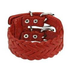 "Red Leather Bracelet with Triple Weaved Design PiercedFish. $16.65. Adjustable Buckle End Closure. Red Leather Bracelet. 7.87""x1.18"""