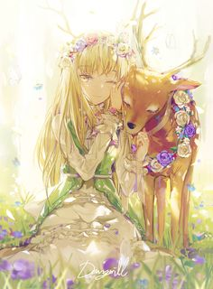 Anime/ Manga Enchanted Forest Deer Flowers Bright Light