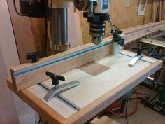 Drill Press Table with off-table drilling jig