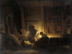 Rembrandt - De Heilige Familie Bij Avond  Rembrandt Harmenszoon van Rijn (Leiden, 15 juli 1606 of 1607[1] – Amsterdam, 4 oktober 1669) was een Nederlands kunstschilder; hij wordt beschouwd als een van de belangrijkste Hollandse meesters van de 17e eeuw. Rembrandt vervaardigde in totaal ongeveer driehonderd schilderijen, driehonderd etsen en tweeduizend tekeningen.
