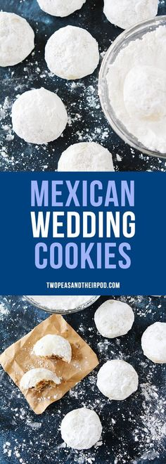 Mexican Wedding Cookies are buttery pecan cookies rolled in confectioners sugar, making them look just like snowballs. They are the perfect Christmas cookie, add them to your holiday baking list this year. #cookies #holidays #baking #MexicanWeddingCookies