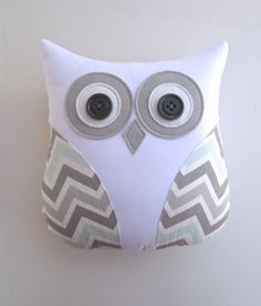 owl pillow, grey and blue chevron pillow, mist and gray chevron, pillow, animal pillow, blue white nursery decor by whimsysweetwhimsy on Etsy, $36.00