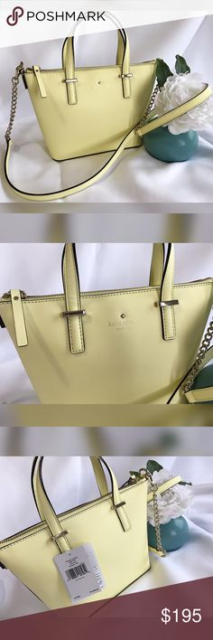 """SALE‼️♠️ Kate Spade Cedar street Harmony Crossbody Brand new with tags. AUTHENTIC. DUST BAG INCLUDED!!  Double handles, adjustable crossbody strap.  Zip closure; Beige fabric lined.  Interior zip pocket, interior slip pocket.  Saffiano leather.  Gold-tone hardware Bottom protective metal feet  Imported. Made in Vietnam. Color:  Lemonade- light soft yellow color  7"""" H x 8"""" Bottom / 10.5"""" Top x 3"""" D 3.5"""" handle drop,  21.5"""" strap drop kate spade Bags Crossbody Bags"""