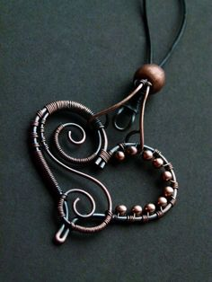 Heart Pendant by SilverDeFactory on DeviantArt Wire Necklace, Wire Wrapped Necklace, Wire Earrings, Necklaces, Copper Necklace, Copper Jewelry, Beaded Jewelry, Jewellery, Wire Jewelry Patterns