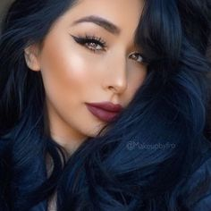 25 Midnight Blue Hair Color Ideas for A Unique Look Update) blue color on dark hair - Blue Things Blue Black Hair Color, Blue Purple Hair, Dark Blue, Indigo Hair Color, Midnight Blue Hair, Hair Color For Women, Ombre Hair, Dark Hair, Hair Inspiration