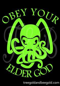 Cthulu Obey Green Vinyl Decal by TreegoldandBeegold on Etsy, $7.50