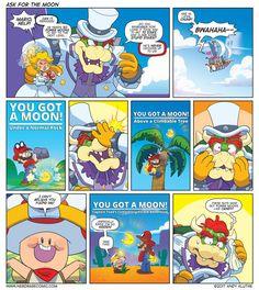 Sunday Comics: Power Moons Everywhere Super Mario Smash, Super Smash Bros, Super Mario Bros, Mario Funny, Mario Memes, Nintendo Game, Nintendo Characters, Mario Comics, Video Game Memes