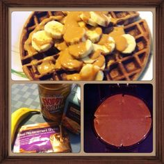 Chocolate peanut butter banana Meal replacement shake waffles. 6 tbsp egg whites, 1 tbsp water, mix with 1 envelope chocolate MRS & cook in waffle maker. Top with banana & peanut butter {heated up on stovetop}. Yum!!! #advocare #mealreplacementshakes #healthy #peanutbutter