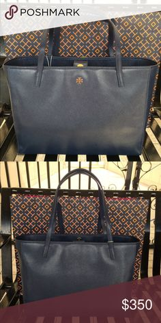 🎉HOST PICK🎉Tory Burch Hudson Bay Leather Tote Tory Burch Hudson Bay Patent Leather Tote.  NWT.  Basic tote for every day in this classic navy color. Tory Burch Bags Totes
