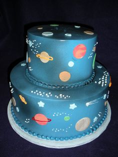 planets cake - For all your cake decorating supplies, please visit http://www.craftcompany.co.uk/