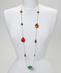Look at this #zulilyfind! Red Dangle Stone Necklace by Ethel & Myrtle #zulilyfinds