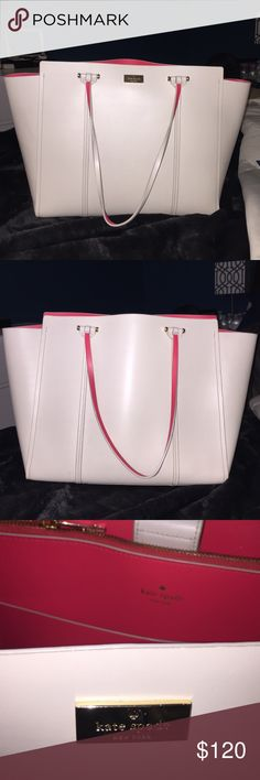 Kate spade large tote bag This beautiful Kate Spade tote bag is an off-white color, 100% leather.  The interior and underside of the handles are a bright coral color. The color inside is dynamic and perfect for spring or summer. The Kate Spade logo is on a small gold metal plaque. It has several compartments inside and is a large bag  (size can fit notebook). This bag is in very good condition.  This is a good one... One of my favs!! Don't miss it!! kate spade Bags Totes