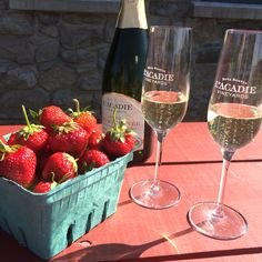 Deeply chilled Vintage Cuvée and freshly picked organic strawberries for winery event #nsbubbly