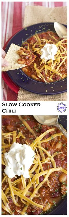 Homemade Slow Cooker Chili Recipe - so easy and delicious! You can also make it on the stove top | 365 Days of Easy Recipes