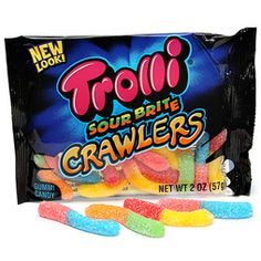 Trolli Sour Brite Crawlers Gummy Worms 2-Ounce Candy Packs: 24-Piece Box