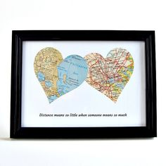 Personalized Map Hearts / Fathers Day Gift / Long Distance Dad / Fathers Day Gift from Daughter / Father Daughter Distance / Going Away Gift by salvagedstudiomke on Etsy https://www.etsy.com/listing/277156448/personalized-map-hearts-fathers-day-gift