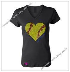Women's Softball Heart w/Name Rhinestone Bling T Shirt- Custom Team, School, and Spirit Apparel