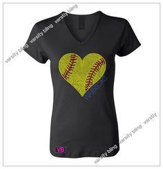 Women's Softball Heart w/Name Rhinestone Bling T Shirt- Custom Team, School, and Spirit Apparel