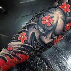 Finished Japanese hannya half sleeve tattoo by Craig Holmes @ Iron Horse tattoo studio Swansea, Wales Oni Tattoo, Hanya Tattoo, Demon Tattoo, Tattoo Mafia, Tattoo Female, Japanese Leg Tattoo, Japanese Tattoo Designs, Japanese Sleeve Tattoos, Tattoo Designs Men