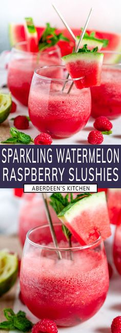 Sparkling Watermelon Raspberry Slushie Cocktail (Pitcher Recipe) - A watermelon raspberry frosé with fresh lime juice, a splash of grand mariner, and your choice of vodka or gin. The perfect chilled beverage for summer al fresco dining! From aberdeenskitchen.com #sparkling #watermelon #raspberry #slushie #cocktail #pitcher #recipe #drink #beverage #happyhour #alfresco #summer #frozen #blended #vodka #gin #frose #rose Rib Recipes, Grilling Recipes, Frozen Watermelon, Mixed Drinks Alcohol, Raspberry Recipes, Bbq Rub, Dinner Entrees, Al Fresco Dining, Food Now